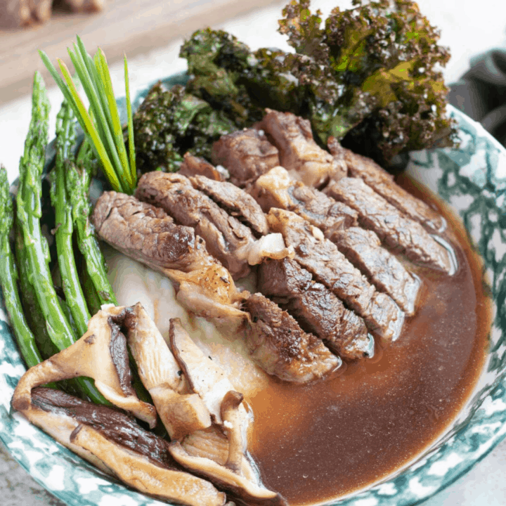 Keto-friendly Ribeye Dinner Deconstructed Soup Bowl