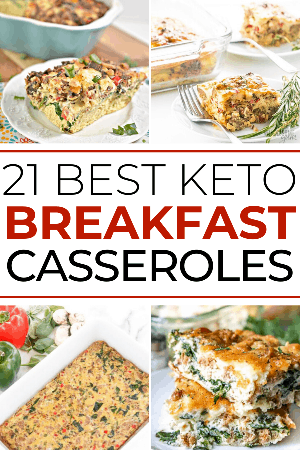 "Collage of breakfast casserole images with title text reading ""21 Best Keto Breakfast Casseroles)"