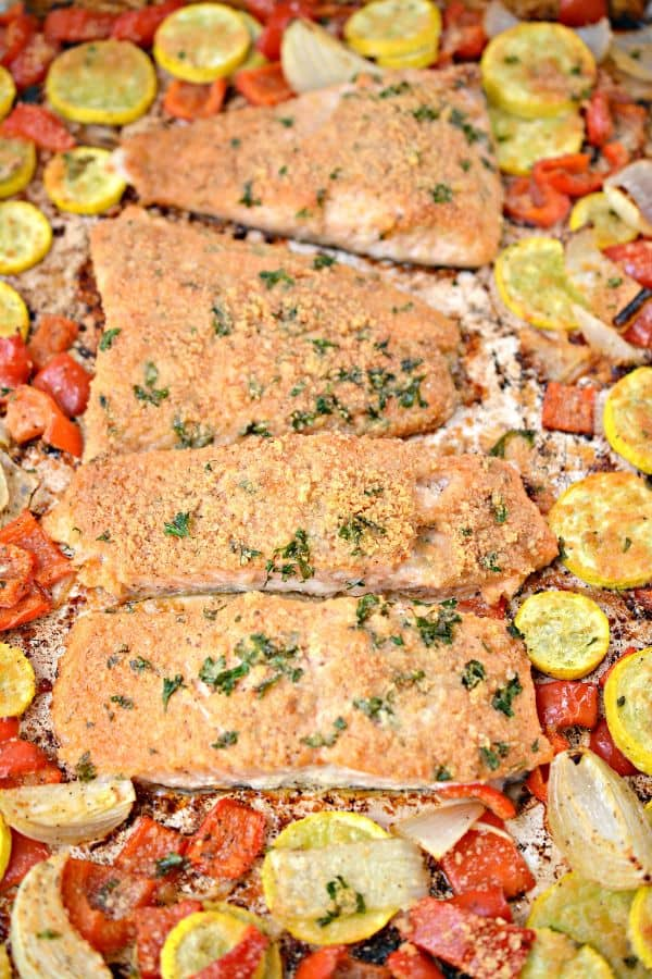 Overhead view of low carb parmesan crusted salmon sheet pan dinner