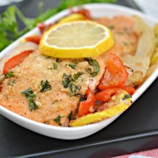 Low Carb Parmesan Crusted Salmon Sheet Pan Dinner
